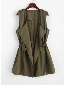 Zaful Drawstring Buttoned Tabs Zip Up Longline Waistcoat   Army Green S by Zaful