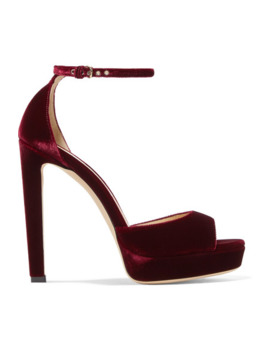 Pattie 130 Velvet Platform Sandals by Jimmy Choo