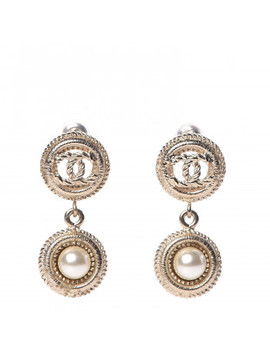 Chanel Pearl Cc Drop Earrings Gold Pearly White by Chanel