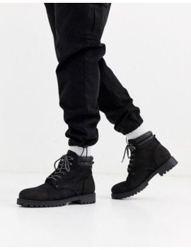 Jack &Amp; Jones Nubuck Leather Boots In Black by Jack & Jones