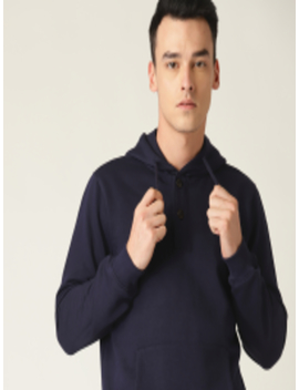 Men Navy Blue Solid Hooded Sweatshirt by Allen Solly