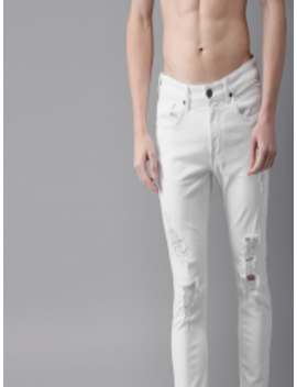 Men White Skinny Fit Mid Rise Mildly Distressed Stretchable Jeans by Here&Now