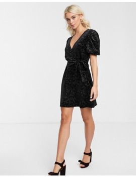 Asos Design   Fluwelen Mini Jurk Met Glitter by Asos Design