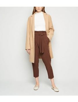 Dark Brown High Waist Tapered Trousers by New Look
