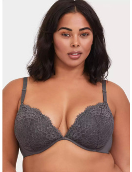 Dark Grey Lace 360° Back Smoothing™ Lightly Lined Plunge Bra by Torrid