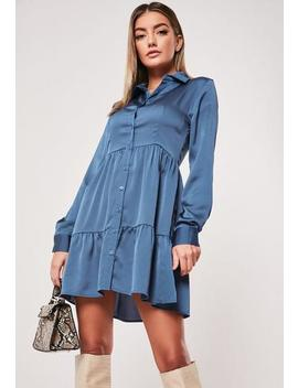 Blue Satin Button Front Smock Shirt Dress by Missguided