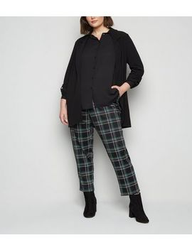 Curves Dark Green Check Trousers by New Look