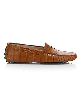 Croco Embossed Leather Driver Loafers by Tod's