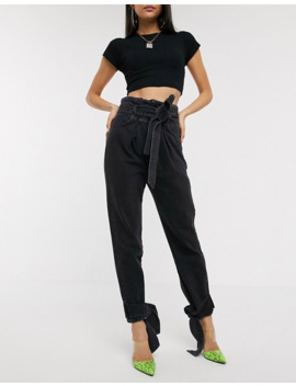 Na Kd Tie Hem Paperbag Waist Jeans In Washed Black by Na Kd's