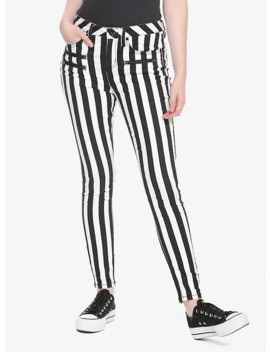 Ht Denim Black &Amp; White Stripe Hi Rise Super Skinny Jeans by Hot Topic