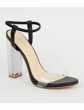 Black Clear Block Heel Sandals by New Look