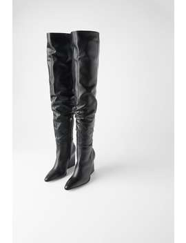 Leather Geometric Heel Boots With Xl Leg by Zara