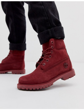 Timberland 6 Inch Premium Dark Red Leather Lace Up Flat Boots by Timberland's