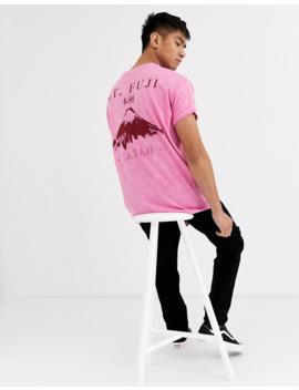 Asos Design — Różowy T Shirt Oversize Z Efektem Sprania Acid Wash, Podwijanymi Rękawami I Japońskim Nadrukiem Na Plecach by AsosDesign