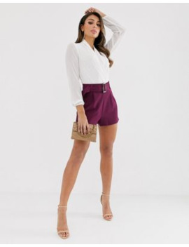Asos Design – Shorts In Violett Mit Gürtel by Asos