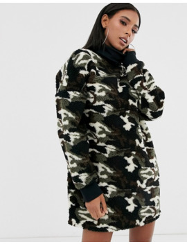 Asos Design Teddy Hoodie Dress In Camo Print by Asos Design