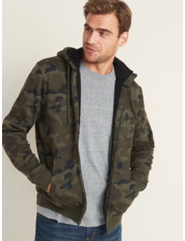 Camo Print Sherpa Lined Zip Hoodie For Men by Old Navy