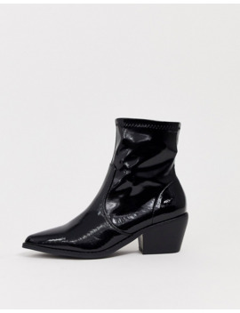 Glamorous Black Patent Western Sock Boots by Glamorous