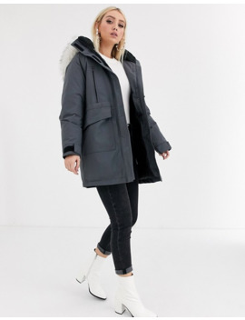 Asos Design Padded Parka With Faux Fur Hood In Black by Asos Design