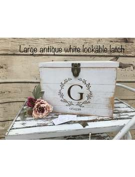 White Rustic Wooden Card Box Personalized Lockable Card Box Wedding Card Box by Etsy