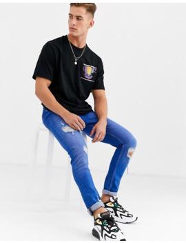 Pull&Bear – Czarny T Shirt Z Nadrukiem Na Piersi I Plecach by Pull&Bear