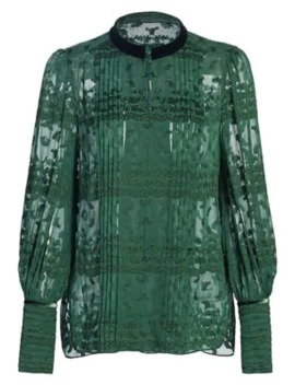 Laci Clipped Jacquard Blouse by Elie Tahari