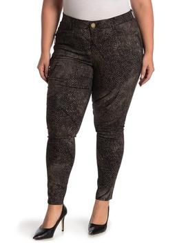 Snake Skin Print Ab Technology Side Zip Skinny Jeans (Plus Size) by Democracy