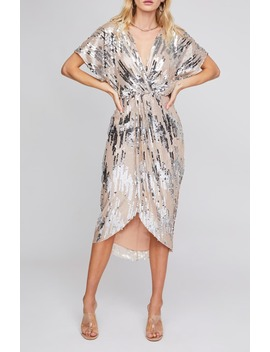 Paloma Sequin Faux Wrap Midi Dress by Astr The Label