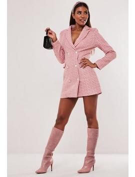 Hayden Williams X Missguided Pink Boucle Blazer Dress by Missguided