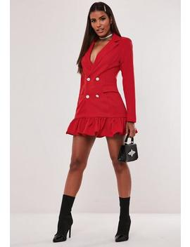 Hayden Williams X Missguided Red Pleated Hem Blazer Dress by Missguided