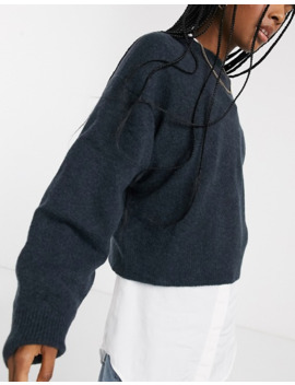 Weekday Knitted Balloon Sleeve Jumper In Navy by Weekday