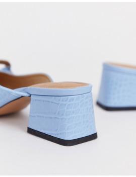 Zapatos De Tacón Medio Azules Con Diseño De Cocodrilo Y Detalle De Aro Subtract De Asos Design by Asos Design