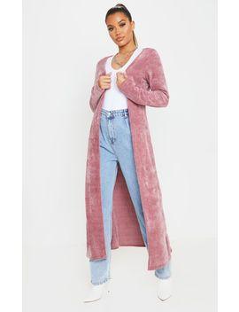 Dusty Pink Longline Chenille Cardigan by Prettylittlething