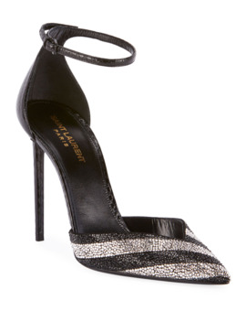 Zoe Embellished Snakeskin Pumps by Saint Laurent