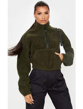 Khaki Borg Zip Front Oversized Sweater by Prettylittlething