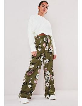 Green Floral Wide Leg Trousers by Missguided