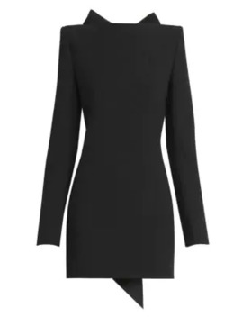 Open Back Bow Wool Mini Dress by Saint Laurent