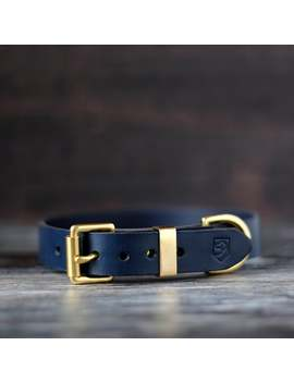Dark Blue Dog Collar, Personalised Leather Dog Collar, Engraved Dog Collar With Brass Hardware by Etsy