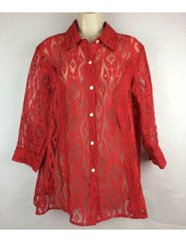 Lady's Red Sheer Button Blouse A La Carte Size M 3/4 Sleeve Hand Wash.........11 by A La Carte