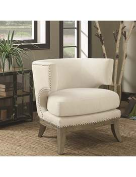 Mid Century Design Cream White Chenille Living Room Accent Chair With Nailhead Trim by Generic
