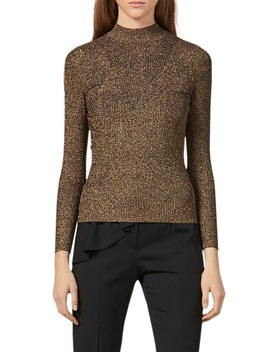 Shinny Mock Neck Sweater by Sandro