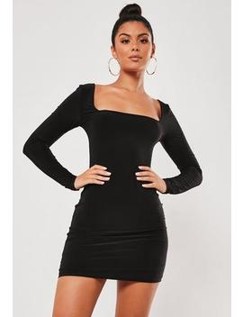 Brown Slinky Square Neck Mini Dress by Missguided