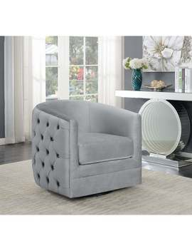 """Silver Orchid Sonne Grey Upholstered Swivel Accent Chair   32\"""" X 31.50\"""" X 30\ by Silver Orchid"""
