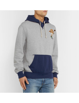 Logo Embroidered Colour Block Fleece Back Cotton Jersey Hoodie by Polo Ralph Lauren