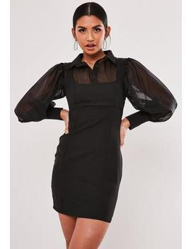 Black Organza Sleeve 2 In 1 Mini Dress by Missguided