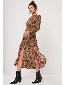 Brown Leopard Print Long Sleeve Midi Dress by Missguided