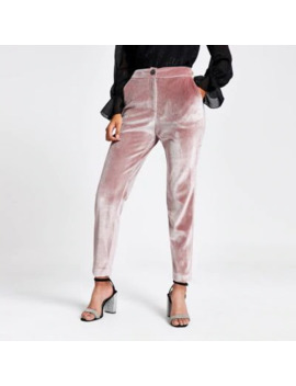 Pink Velvet Cigarette Trousers by River Island