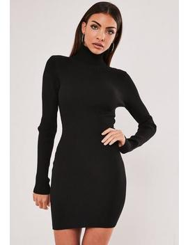 Black Roll Neck Knitted Mini Dress by Missguided