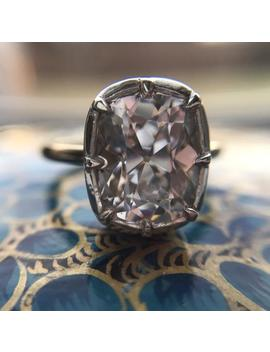 Georgian Victorian Style Engagement Ring With Elongated Cushion Rose Old Mine Cut Diamond Paste Cz Small by Etsy