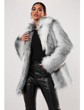 Premium Grey Two Tone Faux Fur Coat by Missguided